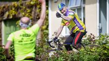 Keen: Larry Clark (74) pedals his stationary bike at his home in Slane, Co Meath. Photo: David Conachy