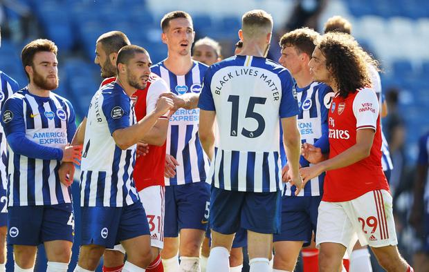 After hitting the last-gasp winner, Maupay was confronted at the full-time whistle with Guendouzi placing his hands on his fellow Frenchman. Photo: REUTERS