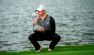 Rory McIlroy celebrates with the trophy after winning the Dubai Duty Free Irish Open Golf Championship at The K Club. Pic: Sportsfile