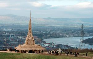 Visitors and participants visit the Temple by renowned Burning Man artist David Best in Derry. Photo: Getty Images