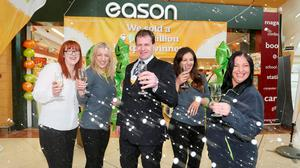 Eason Carlow co-owner Eoin Hennigan with staff Caterine Lyons, Jola Ceglowska, Sonya Cullen and Mary Clare (MacInnes)