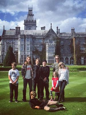 Tony pictured with his brood and his new wife Kathy in Adare Manor