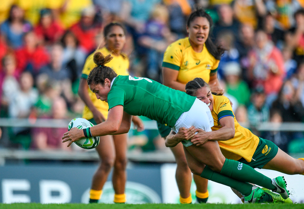 9 August 2017; Larissa Muldoon of Ireland goes over to score her side's first try during the 2017 Women's Rugby World Cup Pool C match between Ireland and Australia at the UCD Bowl in Belfield, Dublin. Photo by Eóin Noonan/Sportsfile