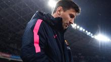 Lionel Messi all alone with his thoughts before last Sunday's match against Real Sociedad.