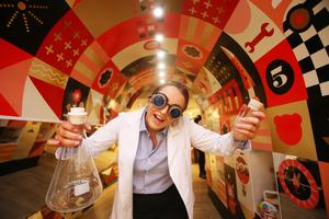 Shaking up market: Cliona Lowry dressed as a mad scientist at the opening of US toy retailer FAO Schwarz at Arnotts in Dublin. Photo: Leon Farrell/Photocall Ireland
