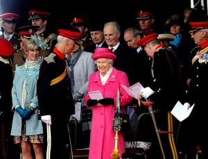 Queen Elizabeth II during a visit to Richmond Castle to attend the amalgamation parade of The Queen's Royal Lancers and 9th/12th Royal Lancers. PRESS ASSOCIATION Photo. Picture date: Saturday May 2, 2015. Photo credit should read: John Giles/PA Wire