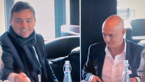 A screengrab of O'Donohue with Tottenham chairman Daniel Levy in the Amazon Prime documentary 'All or Nothing'
