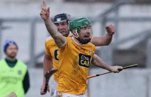 Antrim captain Conor McCann celebrates after his injury-time goal earned the Saffrons a draw. Photo: John McIlwaine
