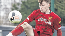 Conor Bradley in action for Liverpool during an U-18 Premier League clash against Man City in February. Photo: Getty Images