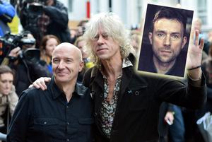 Midge Ure and Bob Geldof at the recording of Band Aid 30 last week and (inset) Damon Albarn