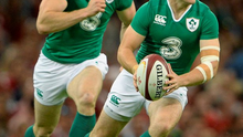 Paddy Jackson and team-mate Andrew Trimble in action at the warm-up match against Wales