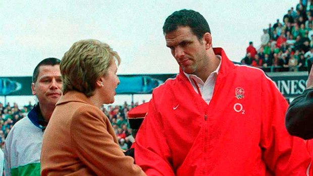 The infamous incident at Lansdowne Road in 2003 when England captain Martin Johnson forced President Mary McAleese to walk on the grass. Photo: Brendan Moran/Sportsfile