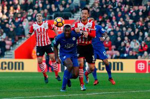 Leicester City's Wes Morgan scores an own goal which is later disallowed. Photo: Reuters / Paul Childs
