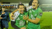 Mils Muliaina (left) and George Naoupu celebrate Connacht's victory over Munster. Photo: Ramsey Cardy / SPORTSFILE
