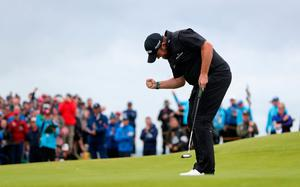 Republic Of Ireland's Shane Lowry celebrates his birdie on the 15th during day four of The Open Championship 2019 at Royal Portrush Golf Club. Photo credit: David Davies/PA Wire.