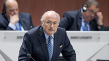 FIFA president Joseph S. Blatter takes a seat after his speech during the 65th FIFA Congress held at the Hallenstadion in Zurich