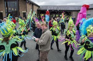 Wednesday 30 April 2014. Punchestown Races, Sean McLoughlin and Declan O'Donoghue from Port Laois are surrounded by the Punchestown Faeries.