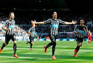 Ayoze Perez celebrates scoring against West Brom at St James' Park
