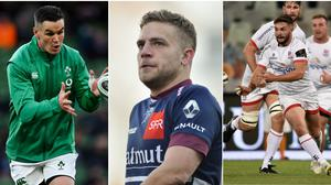 Johnny Sexton (left), Ian Madigan (centre) and Bill Johnston (right) are all on the Irish out-half depth chart.