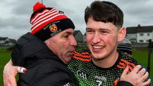 AMBITION: Niall Brassil of IT Carlow is congratulated by manager DJ Carey following the Fitzgibbon Cup semi-final win over Mary Immaculate College Limerick. Photo: Sam Barnes/Sportsfile