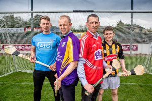 Dublin hurler Cian Boland, Kilkenny legend Tommy Walsh, jumps jockey Davy Russell and flat jockey Shane Foley are pictured at the launch of Hurling For Cancer fundraiser in aid of the Irish Cancer Society