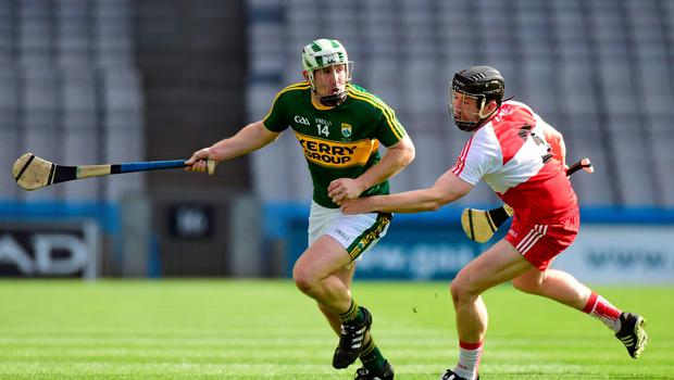 Kerry's Padraig Boyle in action against Conor Quinn of Derry