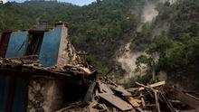 A collapsed house is pictured during a landslide after Tuesday's earthquake at Singati Village, in Dolakha, Nepal, May 15, 2015. REUTERS/Athit Perawongmetha