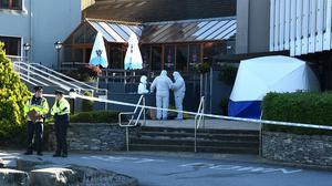 Scene: Gardaí investigating the unexplained death of Darragh Sheehan (26) who was found outside the Gleneagle Hotel in Killarney. Photo : Eye Focus