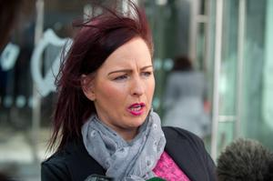 Sonya Stokes speaking to media outside court yesterday Pic: Court Collins.