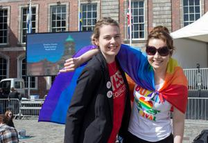 Sisters Rebecca and Rachel Doyle from Wexford waiting for the reults of same-sex marriage referendum at Dublin Castle. Pic:Mark Condren