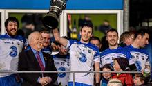 24 January 2015; Waterford captain Thomas O'Gorman lifts the cup. McGrath Cup Final, Waterford v UCC, Fraher Field, Dungarvan, Co. Waterford. Picture credit: Matt Browne / SPORTSFILE