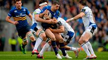 Rob Kearney, Leinster, is tackled by Francois Louw and Jonathan Joseph, Bath. European Rugby Champions Cup Quarter-Final, Leinster v Bath. Aviva Stadium, Lansdowne Road, Dublin. Picture credit: Brendan Moran / SPORTSFILE