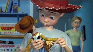 Toy Story's Andy with his toy Woody. Negroni believes Andy's mother is Jessie's previous owner, Emily. Photo: Pixar