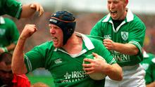 3 February 2002; Ireland's Paul O'Connell celebrates with team-mate Peter Stringer after scoring his try against Wales. Ireland v Wales, Six Nations Championships, Lansdowne Road, Dublin. Picture credit; Brendan Moran / SPORTSFILE