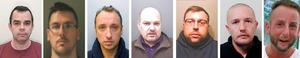 Left-right: John Denham, 49, formally known as Benjamin Harrop, Matthew Stansfield , 34, Matthew Lisk, 32, David Harsley, 51, Robin Hollyson, 30, Chris Knight, 35 and Adam Toms, 33, who are to be sentenced today after they were found guilty of plotting sex crimes against children at Bristol Crown Court. Photo: National Crime Agency/PA Wire