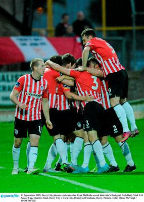 11 September 2015; Derry City players celebrate after Ryan McBride scored their side's first goal. Irish Daily Mail FAI Senior Cup, Quarter-Final, Derry City v Cork City, Brandywell Stadium, Derry. Picture credit: Oliver McVeigh / SPORTSFILE