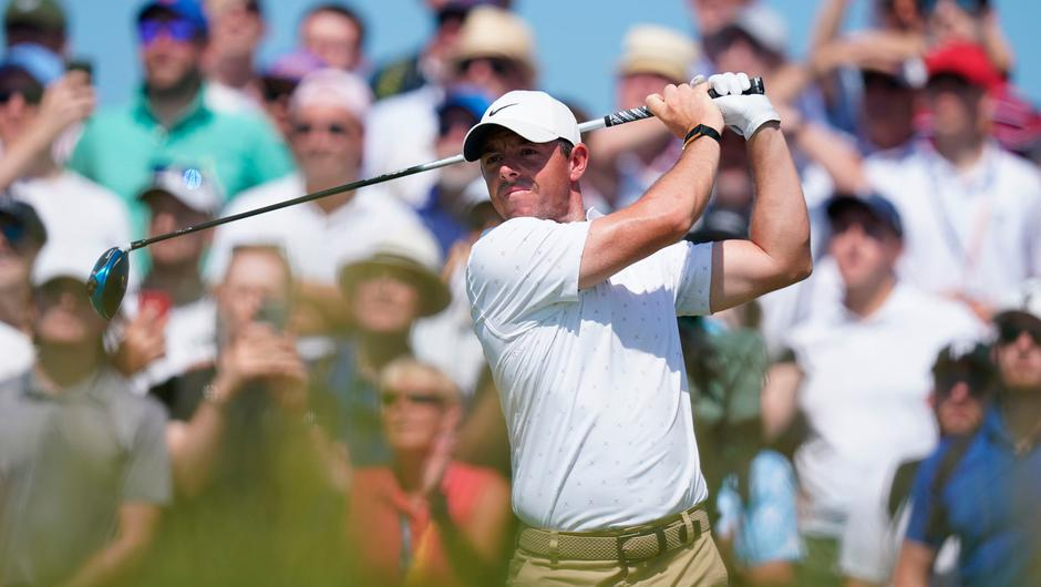 Rory McIlroy on the fourth tee during day four of The Open at The Royal St George's Golf Club in Sandwich, Kent