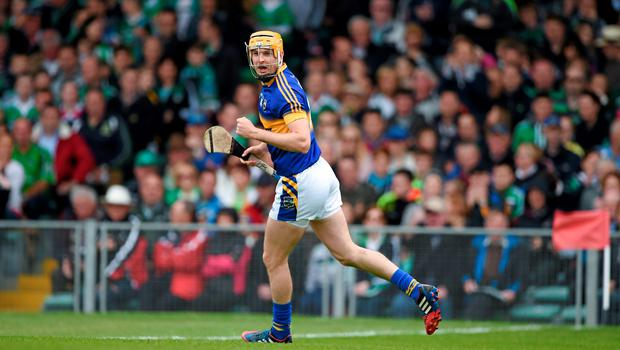 21 June 2015; Seamus Callanan celebrates scoring a goal for Tipperary in the ninth minute. Munster GAA Hurling Senior Championship, Semi-Final, Limerick v Tipperary, Gaelic Grounds, Limerick. Picture credit: Ray McManus / SPORTSFILE