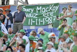 Irish fans pay tribute to Gary MacKay in Sofia in 2009. Picture credit: David Maher / SPORTSFILE