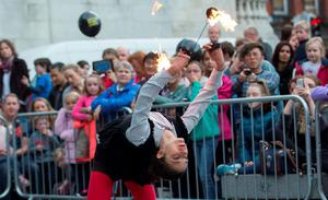 Ericka Brocca performer with Dublin Circus Project on Culture Night 2015 and comprises with hundreds of events across Ireland and overseas. Picture by Fergal Phillips