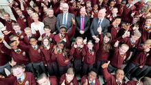 Staff of Gormanstown College County Meath (from left), Gene Carron, Fr Liam Kelly, Vincent Dunne, Dermot Lavin Principal and Conor O'Brien pictured with 1st year pupils at the school