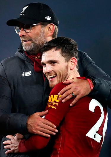 Liverpool manager Jurgen Klopp with Andy Robertson
