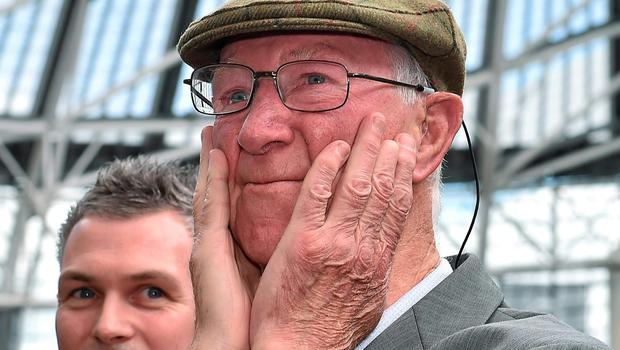 An emotional Jack Charlton is introduced to the Aviva Stadium crowd
