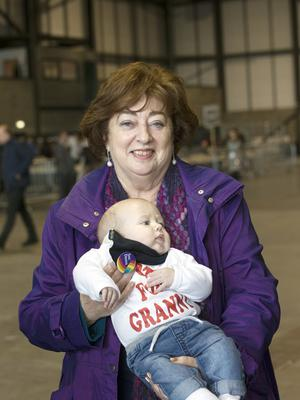 Catherine Murphy of the Social Democrats with her grandson Oisin O'Halloran, 4 months, at the North Kildare election count centre in Punchestown Photo: Tony Gavin/Tony Gavin Photography