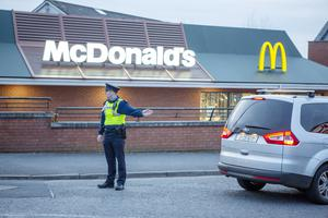 Last orders: Gardaí were called to assist with traffic management after queues of cars backed up onto a main road outside at McDonalds outlet in Ennis, Co Clare. Picture: Press 22