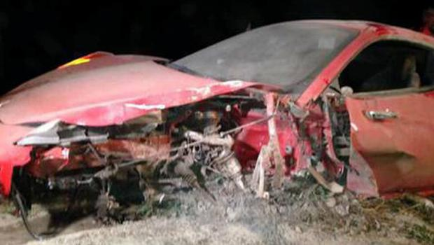 Vidal's Ferrari suffered extensive damage in the accident