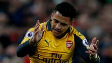 Arsenal's Alexis Sanchez showing his frustration last night