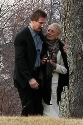 Vanessa Redgrave (R) and Liam Neeson walk together prior to the funeral of actress Natasha Richardson