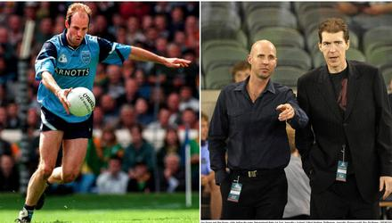 Brian Stynes in action for Dublin and with his brother and AFL legend Jim Stynes.