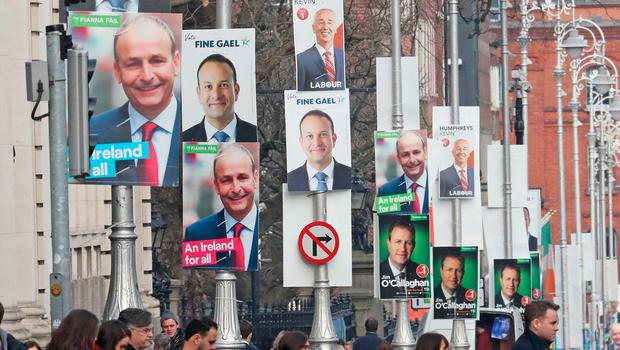 Street scene: Politicians' posters jostle for attention outside Government Buildings in Dublin.. Photo: Niall Carson/PA Wire